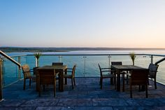View from the terrace Cliff House Hotel, Outdoor Tables, Outdoor Decor, Terrace, Outdoor Furniture, Places, Home Decor, Garden Furniture Outlet, Sidewalk Cafe