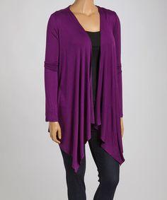 Purple Open Cardigan - Plus #zulily #zulilyfinds