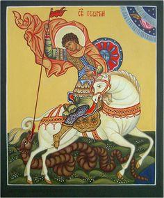 George & the Dragon Dragon Icon, Dragon Art, Patron Saint Of England, Famous Freemasons, Saint George And The Dragon, Orthodox Icons, Patron Saints, Medieval Art, St Michael