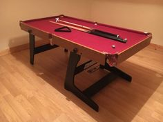 Pool table & 2 cues and a rest Pool Table, Hobbies, Rest, Sport, Home Decor, Bumper Pool Table, Deporte, Sports, Interior Design