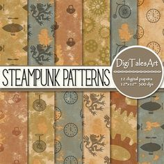 """Steampunk digital paper """"Steampunk Patterns"""".  Perfect for scrapbooking, making cards, invitations, collages, crafts, web graphics, and so much more. Digital paper pack by DigiTalesArt."""