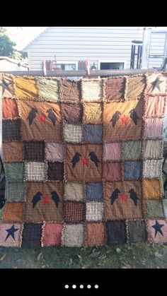 Items similar to Primitive Rag Quilt Large Throw on Etsy Rag Quilt Patterns, Irish Chain Quilt, Keepsake Crafts, Large Throws, Quilt As You Go, Easy Quilts, Vintage Quilts, Quilt Blocks, Primitive