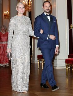 Crown Princess Mette-Marit and Crown Prince Haakon on the state dinner in honour of the Duke and Duchess of Cambridge/ Febr. 1, 2018