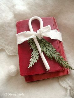little red christmas book is cute decor on a coffee table or mantel