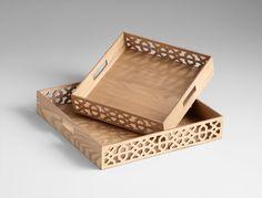 "Wooden Lattice Tray- 17.75""w"