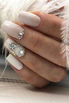 30 Cute Nail Design Ideas For Stylish Brides ❤ nail design white nails with crystals profi nails ❤ See more: #wedding #weddingnails #naildesign