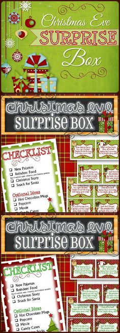 "Celebrate Christmas Eve with this easy and fun ""Surprise Box"" kit. Put the special items in a box and wrap it up for your kids to open before they go to bed on Christmas Eve. This tradition will be something they'll remember forever! A checklist with gift options and poems for Santa's Treat, New Pajamas, Reindeer Food and a Christmas Story are included. Merry Christmas!"