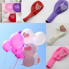 Heart Printed Round Latex Balloons Party Wedding Anniversary Birthday Decoration