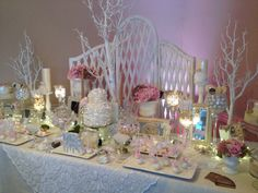 Perfectly Posh Candy Buffet Pink and White Romantic/Vintage Theme www.perfectlyposhct.com