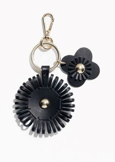 & Other Stories Leather Flower Keyring  in Black