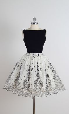 Vintage 1950s Black and White Flocked Chiffon Party Dress