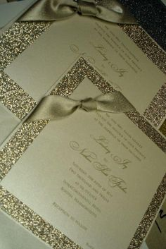 White and Gold Wedding. Latest Designs - Elegant Wedding Invitations, Custom Stationery, Bar/Bat Mitzvah announcements – handmade by Clover Creek Save The Date Wedding, Our Wedding, Dream Wedding, Wedding Stuff, Elegant Wedding Invitations, Wedding Stationary, Glitter Invitations, Wedding Wishes, Wedding Cards
