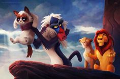 You know the lion king...Well did you ever hear of the Grumpy King ( he's the cat the monkey is holding)