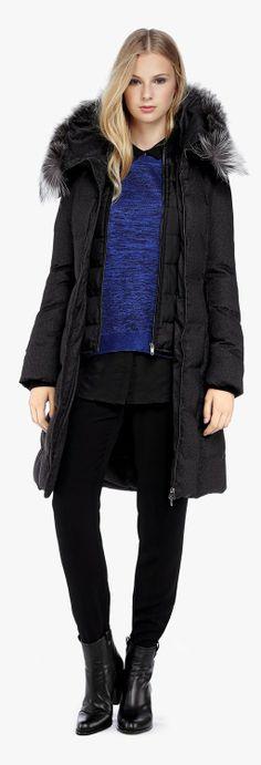 AUTH! Black MACKAGE VALERIE Bomber Peach Lux Down Fur Hood Jacket ...