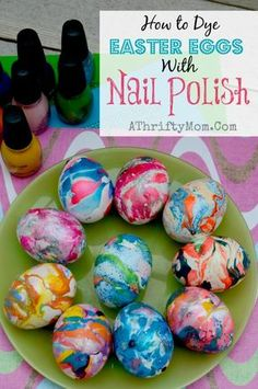 This is amazing How to dye eggs with Nail Polish and water, Finger Nail Polish SWIRL eggs, Easter Eggs, #Easter, How to make swirled easter eggs, Tie Dye Eggs, #Easter #Hacks
