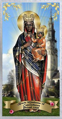 Our Lady of Czestochowa Poland laminated Prayer card. Black Jesus Pictures, St Francis Statue, Blacks In The Bible, Our Lady Of Czestochowa, African Art Paintings, Sainte Marie, Blessed Mother Mary, Black History Facts, Madonna And Child