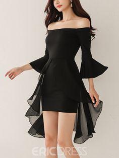 Ericdress Slash Neck Flare Sleeve Mesh Patchwork Women's Bodycon Dress