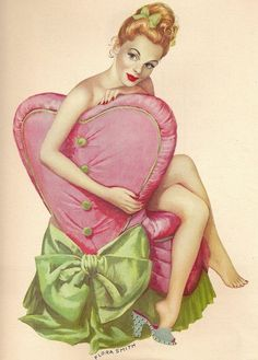 FEBRUARY Page 1948 Esquire Girl Calendar Year Book Pin Up Pinup Prelude by Flora Smith Heart