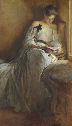 """"""" A Quiet Corner John White Alexander (American, Oil on canvas. This painting is an exceptionally fine example of Alexander's mature style, demonstrating his penchant. Reading Art, Woman Reading, Reading Books, Beautiful Paintings, Love Art, Female Art, Painting & Drawing, Art History, Oil On Canvas"""