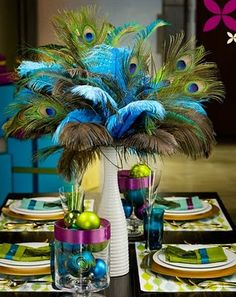 Center piece peacock- this is a little much but I love the colors.