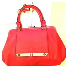 Reduced - Authentic Halston Heritage leather bag. Beautiful red all leather - like NEW. I will pay for shipping. Halston Heritage Bags Satchels