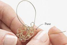 Brincos de crochê de arame, passo a passo. Aprenda mais sobre crochetar com arames.