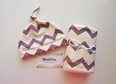 Purple Chevron Baby Blanket and Newborn Hat - Swaddle Blanket - Organic Cotton Knit - Baby Hat