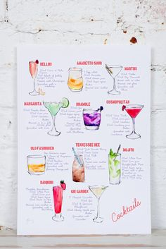 This illustrated cocktail print features 11 beautiful watercolour paintings of mouthwatering cocktails. Each cocktail is accompanied by its recipe! They have all been tried and tested- and the recipes are all by her fiancé (hes an ex-bar manager - what a team!) Cocktails featured- bellini amaretto sour martini margarita bramble cosmopolitan old fashioned tennessee bee mojito daiquiri gin garden Perfect above a bar trolley, in a kitchen, or above your drinks cabinet! Each print is archiva...