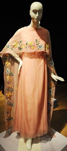"""""""A beautiful peach coloured embroidered dress [of Elizabeth Taylor]"""" (quote) via dailymail.co.uk"""