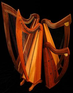Lever Harps or Folk Harps, of varying sizes from full size floor harp to lap harp.