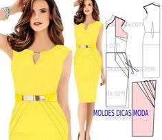 c27ecb381 VESTIDO DRAPEADO -223 - Moldes Moda por Medida Vestidos Cortos