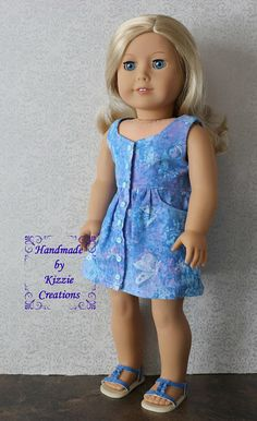 18 Inch Summer Doll Dress, Kizzie Creations, Dress For 18 Dolls Such As American Girl and My Imagination