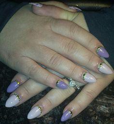 Pink purple almond nails