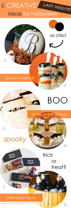 6 Creative (Last Minute) Halloween Ideas http://www.theperfectpalette.com/2013/10/6-creative-last-minute-halloween-ideas.html