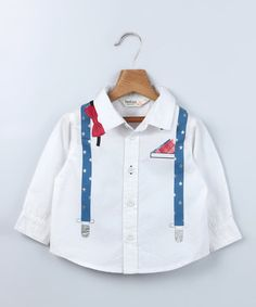 Another great find on #zulily! White Bow Tie & Suspender Shirt - Infant, Toddler & Boys by Beebay #zulilyfinds