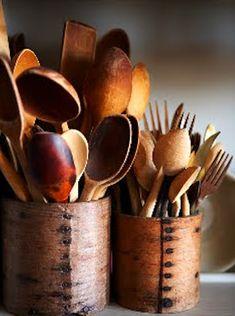 Vintage, wooden spoons, forks, etc....love them!!            ****