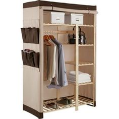 Buy Polycotton and Pine Double Wardrobe - Cream & Chocolate at Argos.co.uk, visit Argos.co.uk to shop online for Bedroom and bathroom furniture, Limited stock Home and garden, Wardrobes