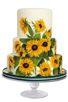Painted Wedding Cake ...SUNFLOWERS! :D Sunflowers are my thing. When I get married, I want to have a single, large sunflower as my bouquet and a small one as my husband's boutonnière.