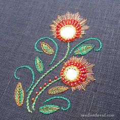 Not goldwork, but sparkles! shisha embroidery with metallic threads on dark fabric