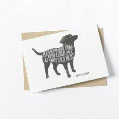 Grüße - Klappkarte - Hund Zitat Spruch - ein Designerstück von lumilarie bei DaWanda