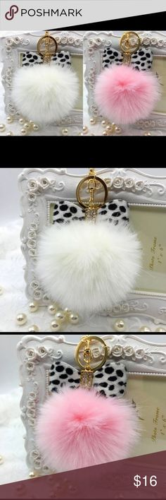 Set of 2 White & Pink Leopard Pompom Keychain One white and one pink leopard Purse Charm or Keychain Accessories Key & Card Holders