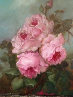 BARNES OIL PAINTING KLEIN PINK ROSES  ANTIQUE VINTAGE STYLE SHABBY LANDSCAPE