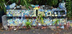 haphazard mosaic wall @ house near Sarasota's arts district, Towles Court.
