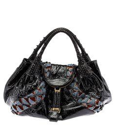 Fendi Limited Edition Beaded Black Leather Spy Bag