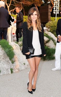 Rachel Bilson wearing Christian Louboutin Pigalle Point-Toe Pumps Chanel Spring 2011 Haute Couture Tube Top Chanel Spring 2011 Leather Shorts Chanel Chain Embellished Quilted Clutch