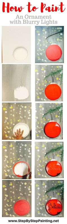 Step by Step Painting.Net. How To Paint Ornament with Blurry Lights - Tracie's Acrylic Canvas Tutorials. EASY tutorial for beginner.