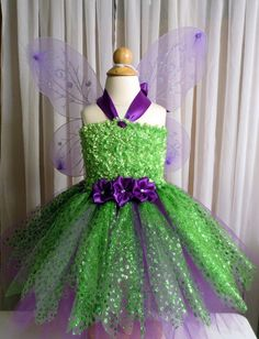 Tinkerbell Tutu Dress with Matching Wings Wand and by Kitsch, Tinkerbell Party, Baby Girl Halloween, Headpiece, Ball Gowns, Dress Up, Costumes, Formal Dresses, Trending Outfits