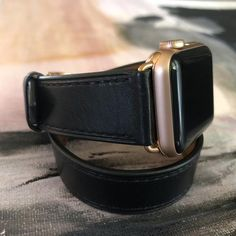 Black Double Wrap Apple Watch Band by Juxli Home Apple Watch Series 2, Apple Watch Bands, Apple Watch Fashion, Apple Watch Leather, Apple Watch Iphone, Watches, Black, Outfit, Free Shipping