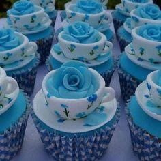 #cups #cupcake #cupcakes #blue #teacup #tea #flower #pretty #cute #dessert #food #design #fooddesign #yum