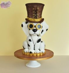 Vicky - Steam Cakes - Steampunk Collaboration - cake by Magda's Cakes (Magda Pietkiewicz) Bird Cakes, Dog Cakes, Dog Cake Topper, Cake Toppers, Fancy Cakes, Cute Cakes, Gorgeous Cakes, Amazing Cakes, Vet Cake